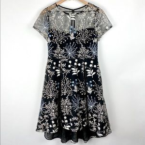 ADRIANNA PAPELL Black Mesh Dress Embroidered